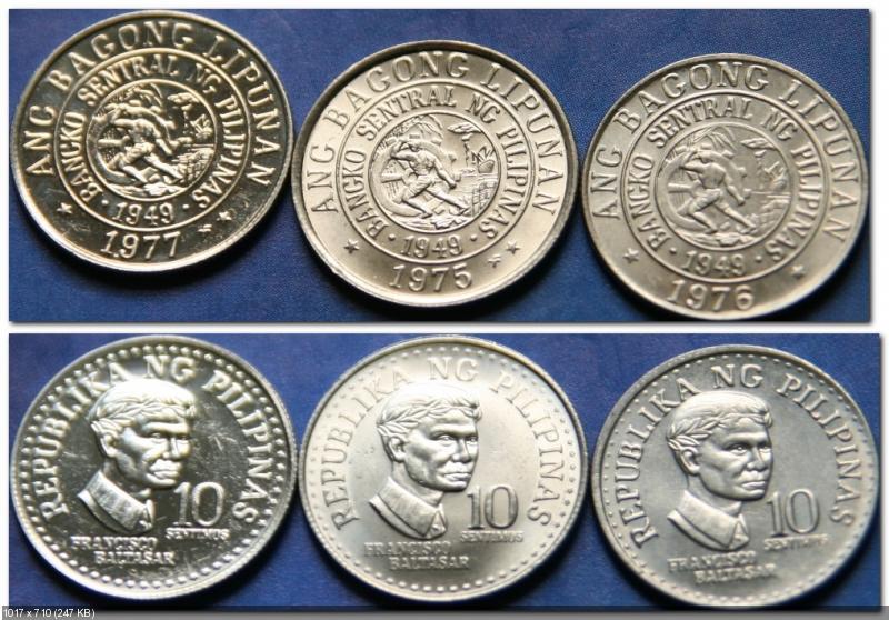 Монеты и банкноты №180 10 динаров (Хорватия), 10 сентимо (Филиппины)